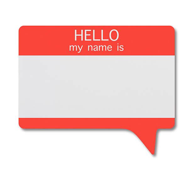 namensschild (sprechblase) - hello stock-fotos und bilder