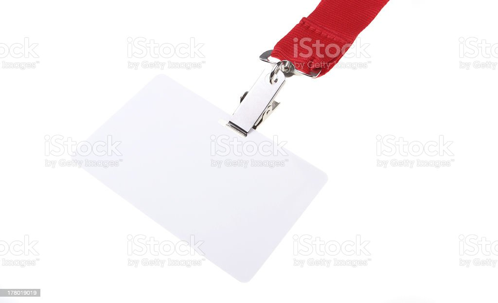 Name tag with red lanyard stock photo
