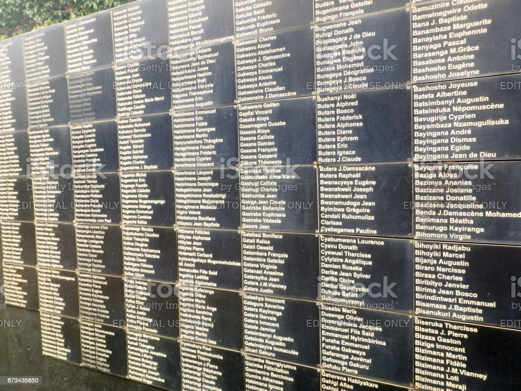 Names, National Memorial to the victims of Genocide, Kigali, Rwanda stock photo