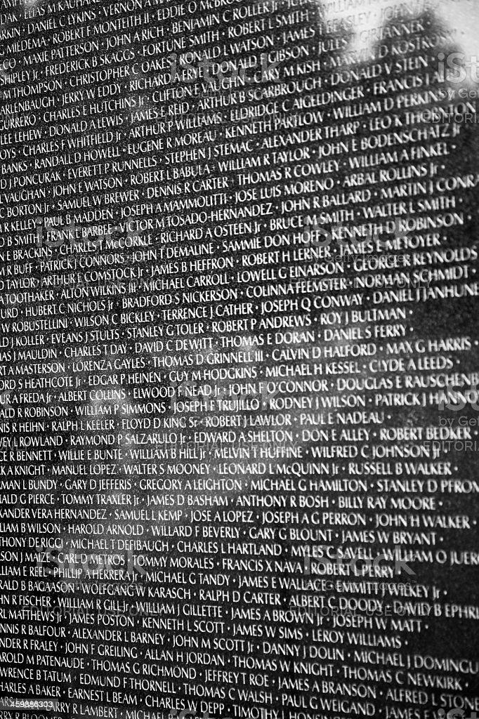 Names Of Casualties On Vietnam War Veterans Memorial Stock Photo