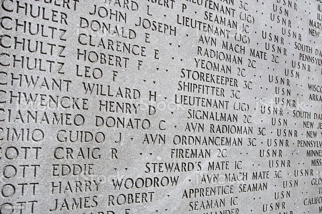 Names of servicemen lost in Atlantic Ocean during WWII, NYC royalty-free stock photo