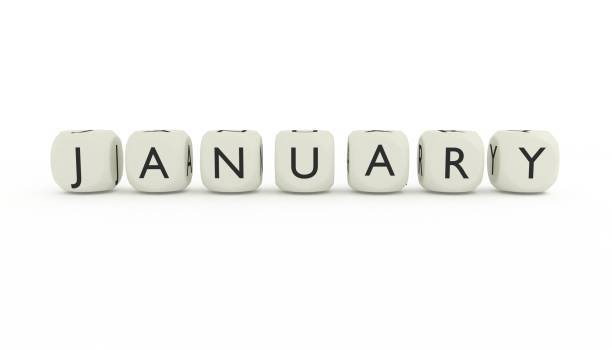 Names of the months written on dices. stock photo