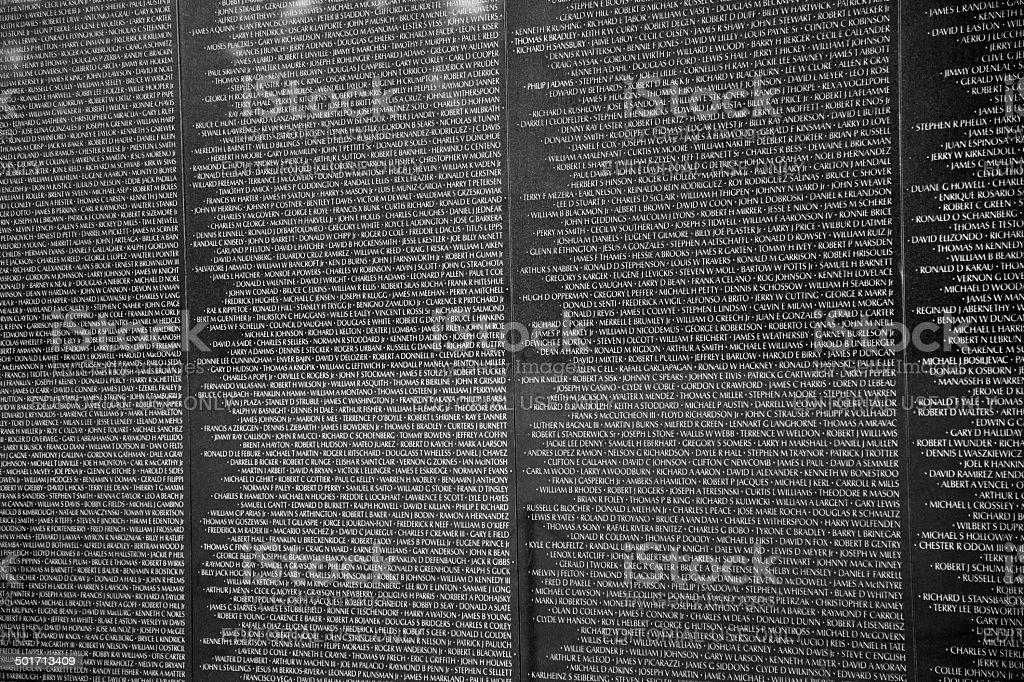 Names Of Vietnam War Casualties At Veterans Memorial Stock Photo