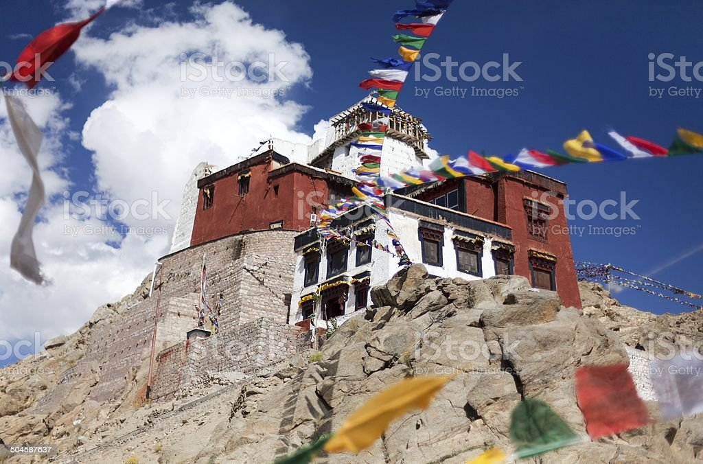 Namgyal Tsemo Gompa with prayer flags - Leh - Ladakh royalty-free stock photo