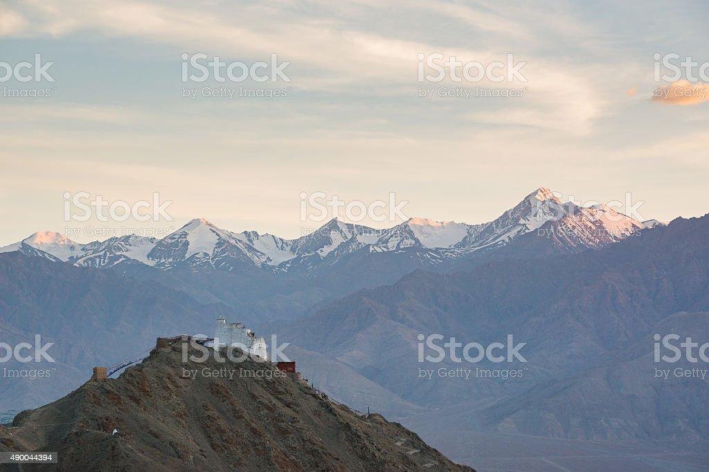 Namgyal Tsemo Monastery with sunset ,Leh Ladakh,India. stock photo