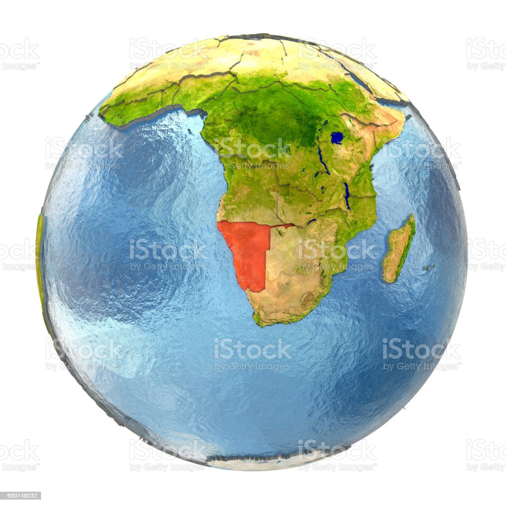 Full Earth Map.Namibia In Red On Full Earth Stock Photo More Pictures Of Africa