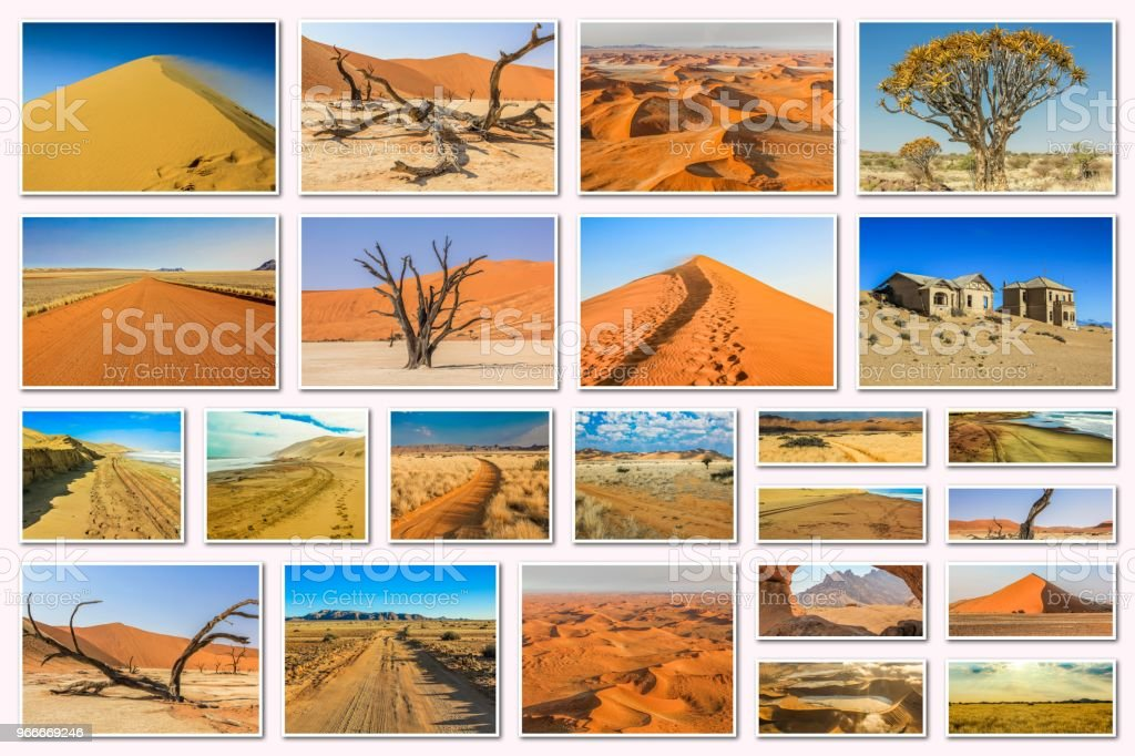 collage de Namibia sossusvlei - foto de stock