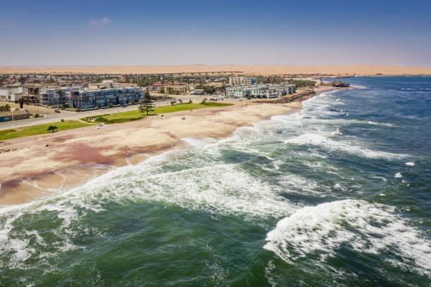 Namibia Swakopmund Beach Coast South Atlantic Ocean Aerial View stock photo