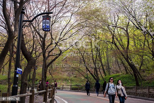 Seoul, South Korea - April 15, 2015: Namsan Dullegil which is for the walking path around up to Mt.Nam(Namsan). It is a popular place for local and international visitors to walk around in nature in middle of Seoul City, especially when it
