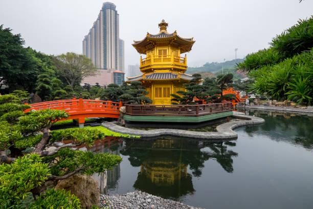 nan lian garden among a building in hong kong - lian empty imagens e fotografias de stock