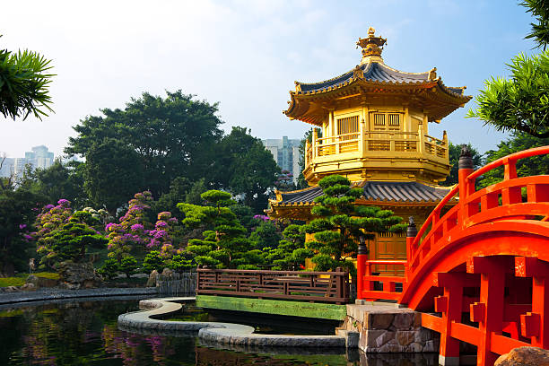 Nan Lian Garden Hong Kong Nan Lian Garden,This is a government public park,situated at Diamond hill,Kowloon,Hong Kong pagoda stock pictures, royalty-free photos & images