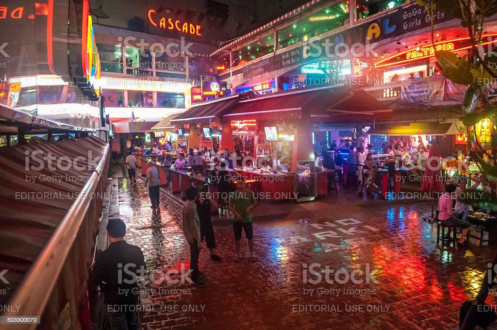 Nana Entertainment Plaza Illuminated At Night In Bangkok, Thailand stock photo