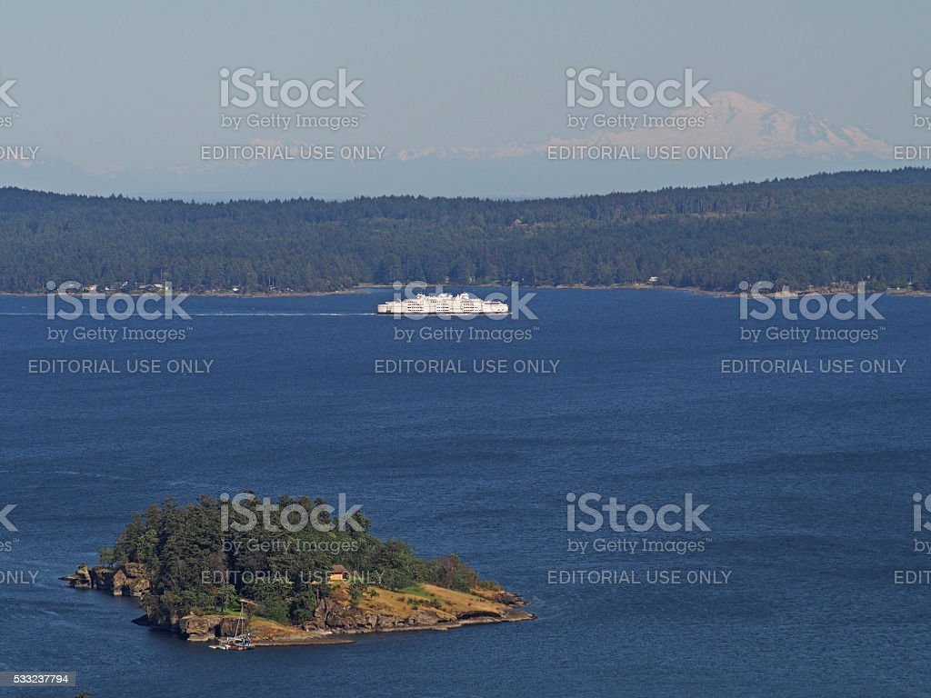 Nanaimo Ferry with Islands and Mount Baker stock photo
