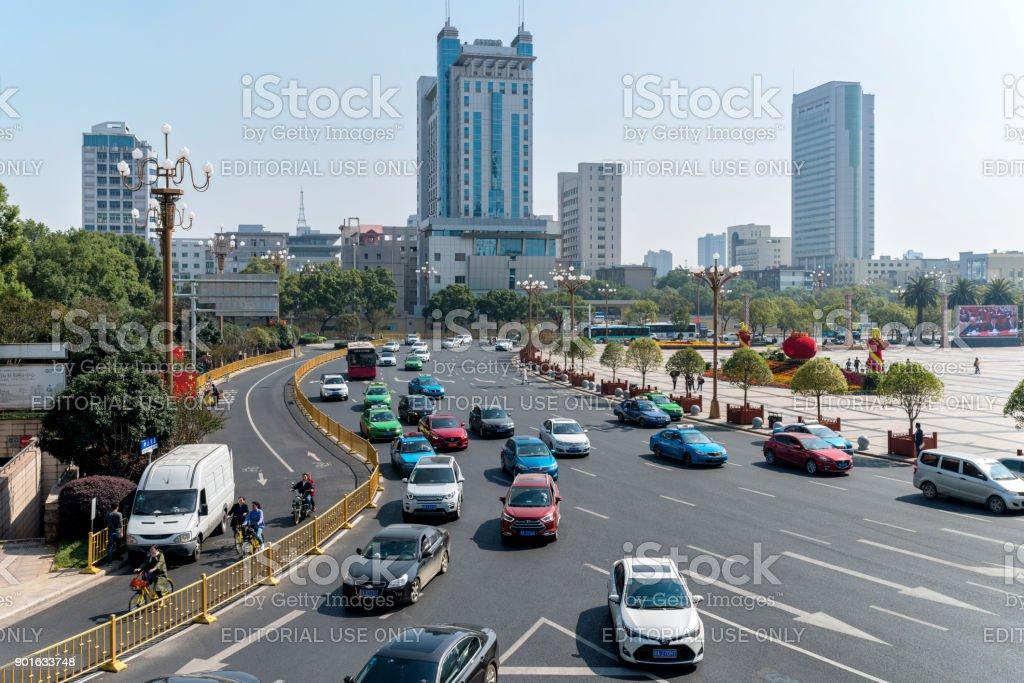 Nanchang, Jiangxi, China - October 26, 2017: Cars are moving slowly...