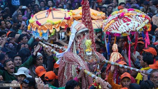 Chamoli, Uttarakhand, India, April 08 2014, Nanda Devi Raj Jat Yatra Dev Doli in Himalaya