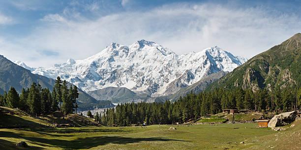 Nanga Parbat and Fairy Meadows Panorama, Himalaya, Pakistan stock photo