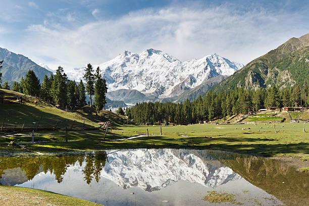 Nanga Parbat Reflection, Himalaya, Pakistan stock photo