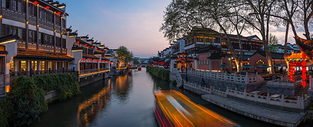 Nanjing Konfuzius-Tempel und Bootsfahrten auf dem Fluss – Foto