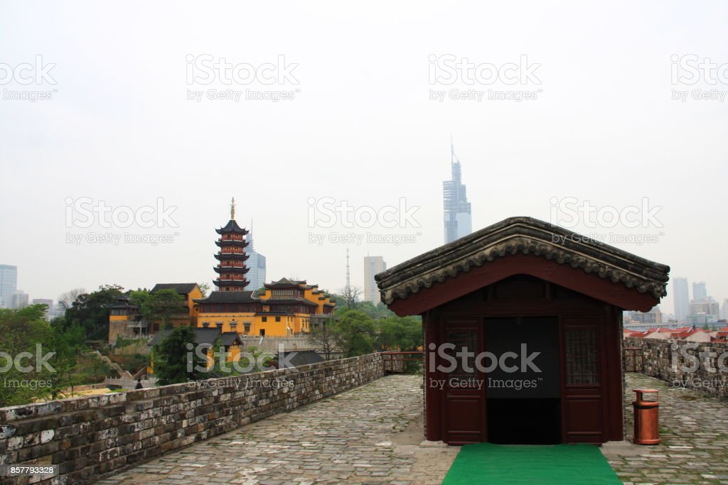 Nanjing Old City Wall with a view of the City and Mountain.  Nanjing, China. 16th, April, 2009 stock photo
