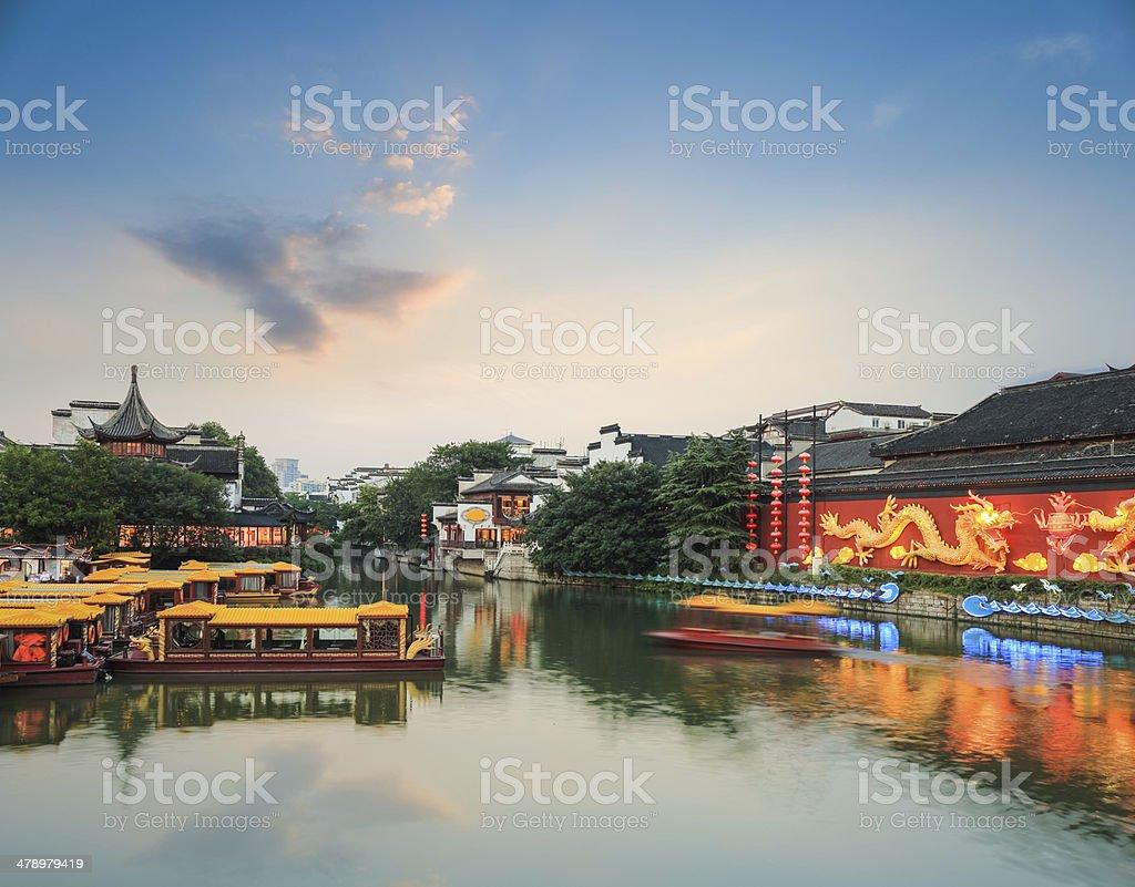 nanjing Landschaft qinhuai-Fluss in der Abenddämmerung – Foto
