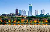 Nanjing Xuanwu Lake Financial District building landscape night