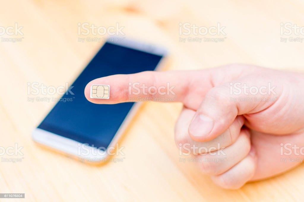 Nano Sim Card for cellphone stock photo