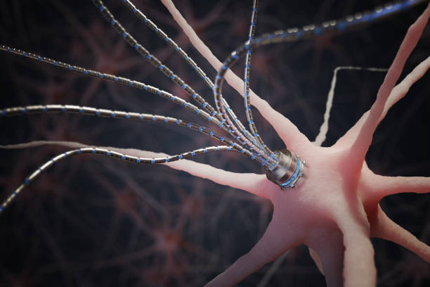 Nano technology concept. Micro robotic artificial axon on neuron in neural network. 3D rendered illustration. stock photo