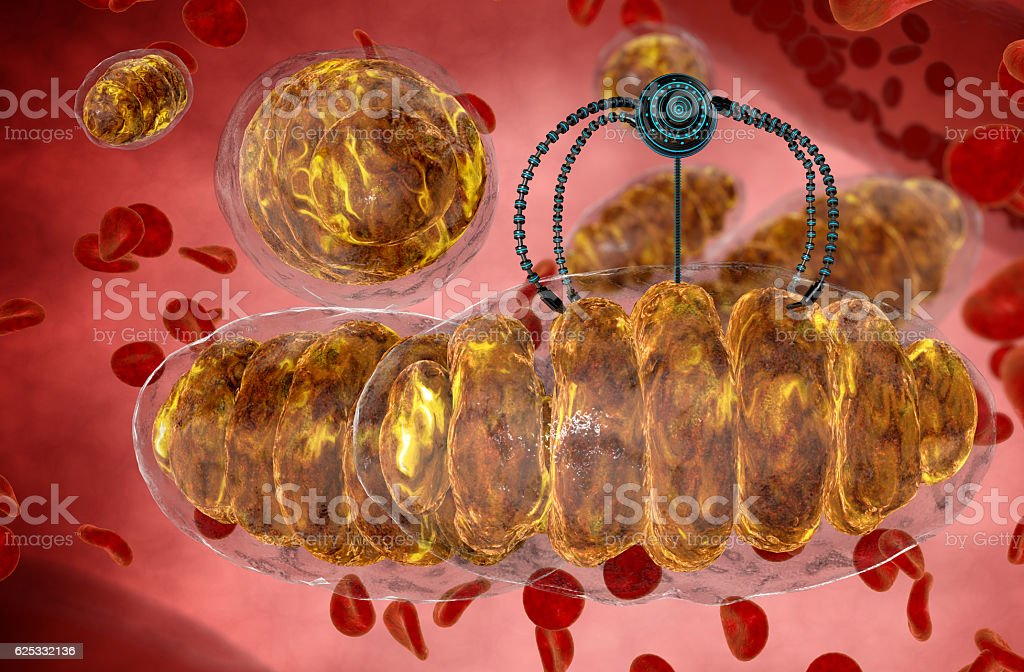 nanorobot and mitochondrion. Medical concept anatomical future. Human anatomy, inside stock photo