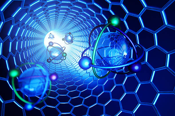 Nanotechnology, molecular structure and science concept, scientific illustration stock photo