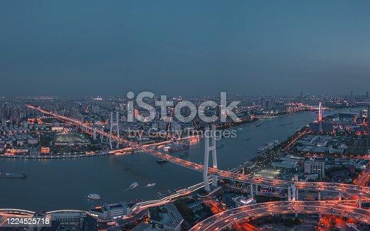 599471112 istock photo Nanpu Bridge At Night 1224525718