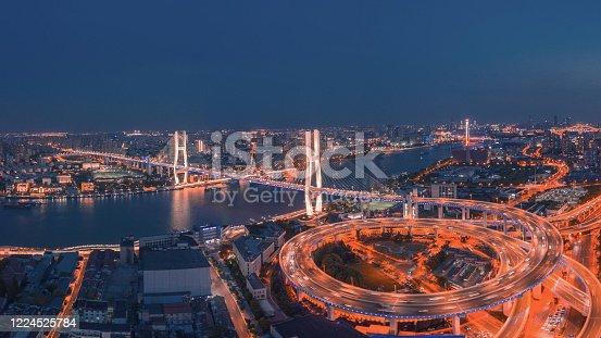 599471112 istock photo Nanpu Bridge At Night 1224525784