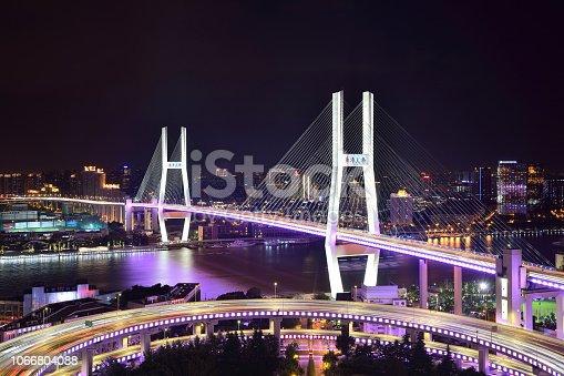 Close-up of Nanpu bridge at night, Shanghai, China.