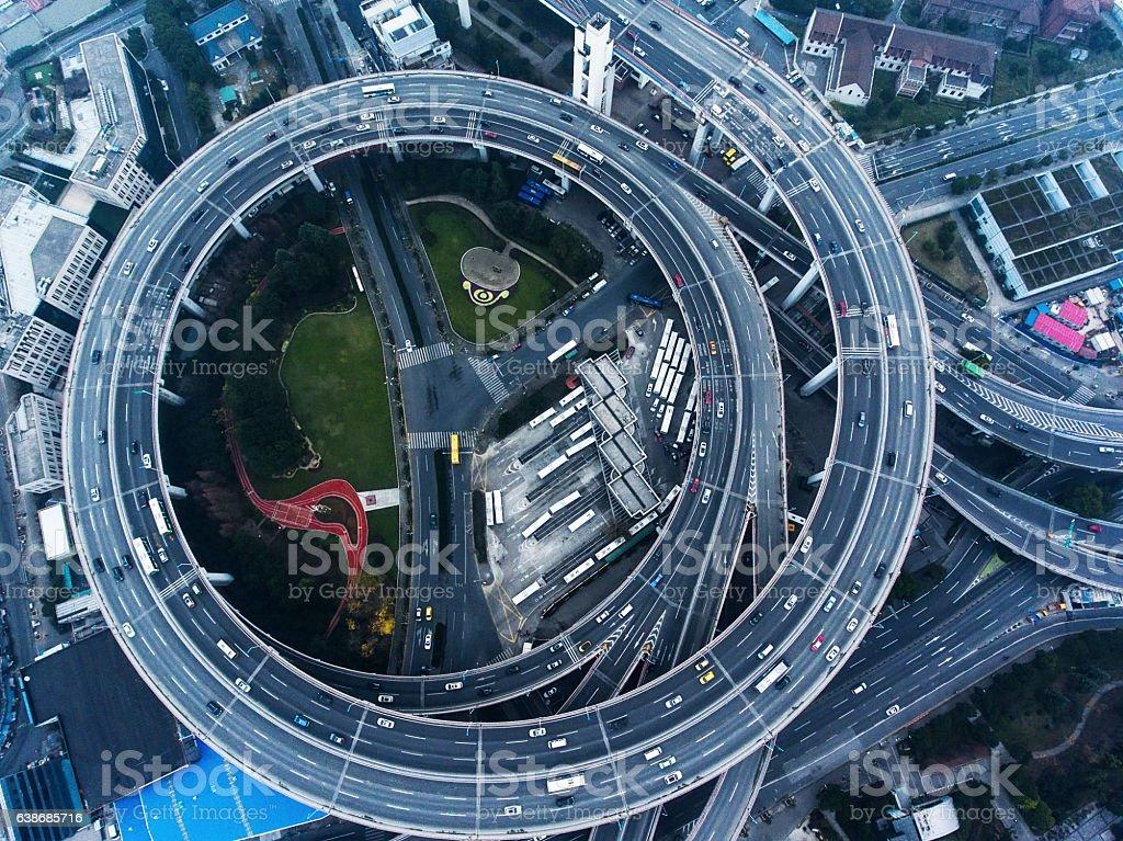 Nanpu Bridge in Shanghai stock photo