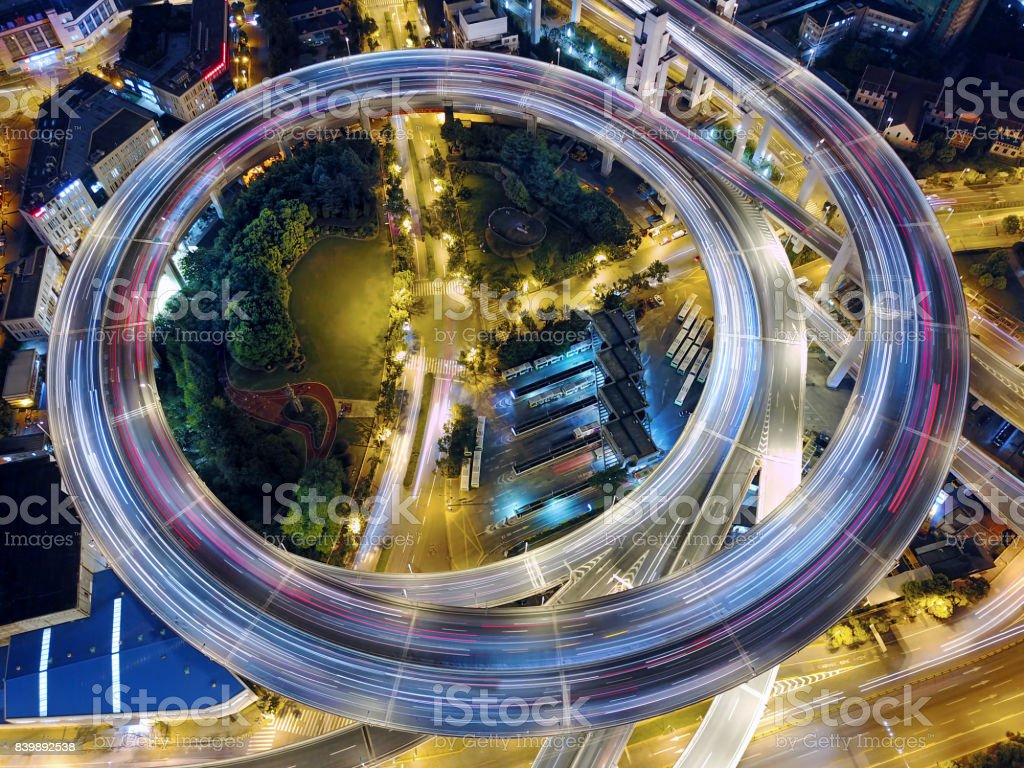 Nanpu Bridge viaduct road, Shanghai stock photo