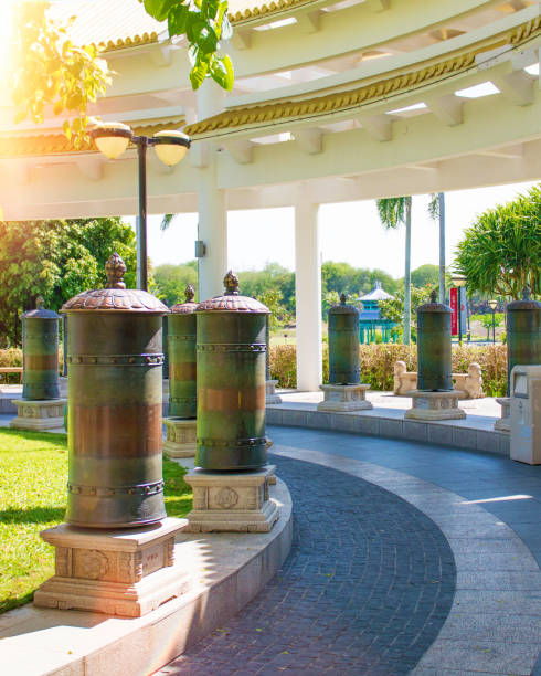 Nanshan Buddhism Center, a park full of religious sites. five star Park. high columns and iron drums for luck and prosperity. stock photo