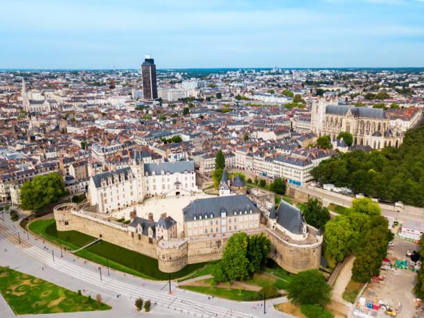 Nantes aerial panoramic view, France stock photo