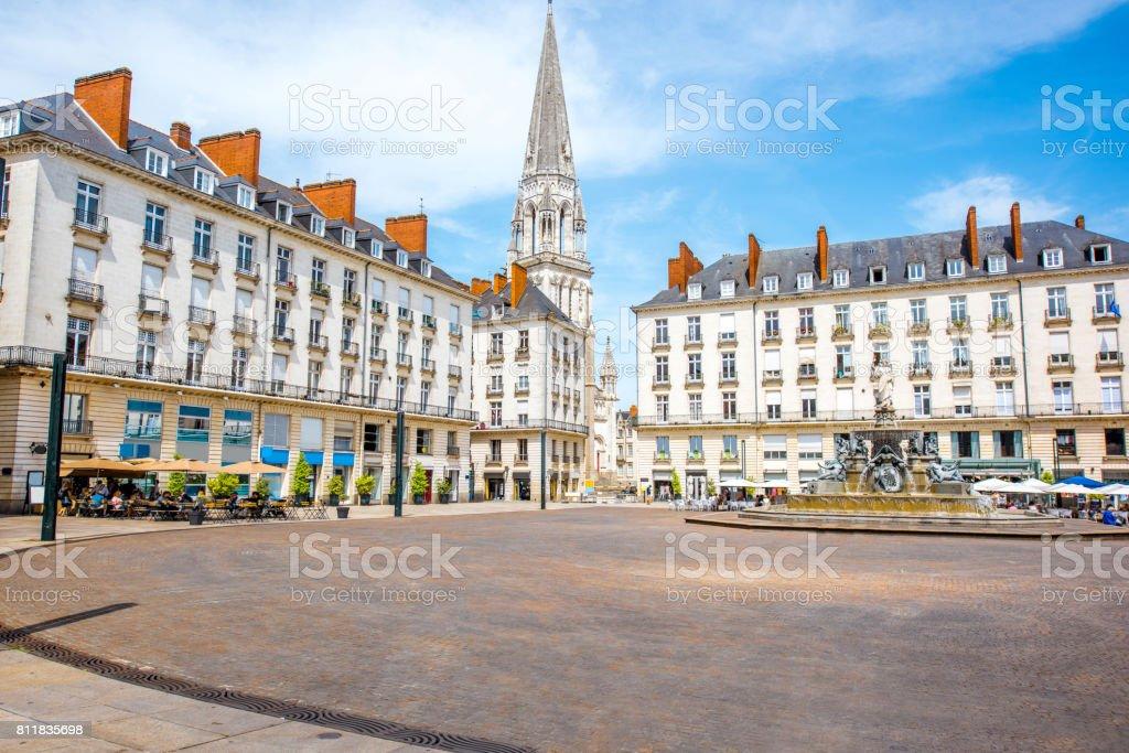 Nantes city in France stock photo