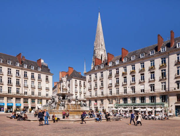Nantes, France, Place Royale, Crowds of People Out Enjoying the Sunshine stock photo