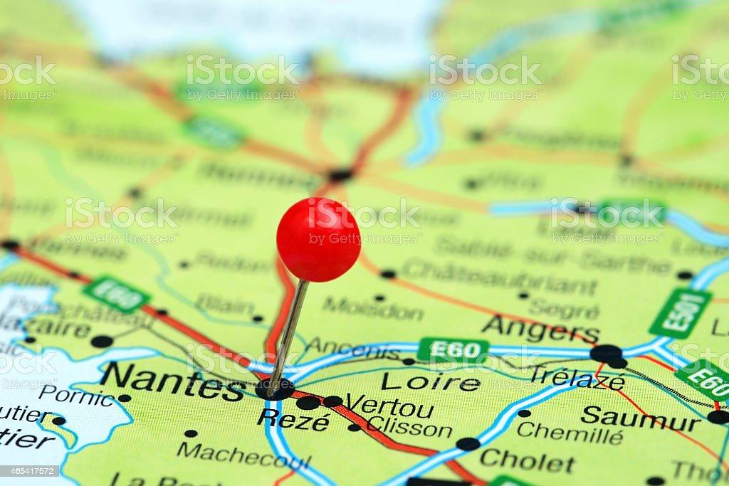 Nantes Karte.Nantes Steckern Auf Einer Karte Von Europa Stockfoto Und Mehr Bilder