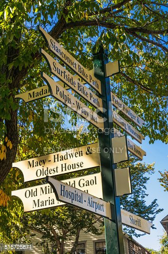 Nantucket, Massachusetts, USA - September 28, 2014:  A guidepost in the center of the village of Nantucket points the way to local attractions, bike paths, and services on this picturesque Massachusetts Island