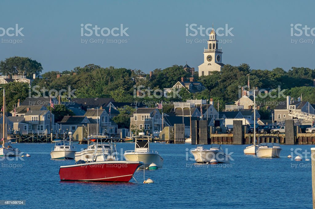 Nantucket Harbor morning stock photo