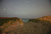 The stars in the night sky come out over the crashing waves of the beaches on Nantucket Island, Massachusetts