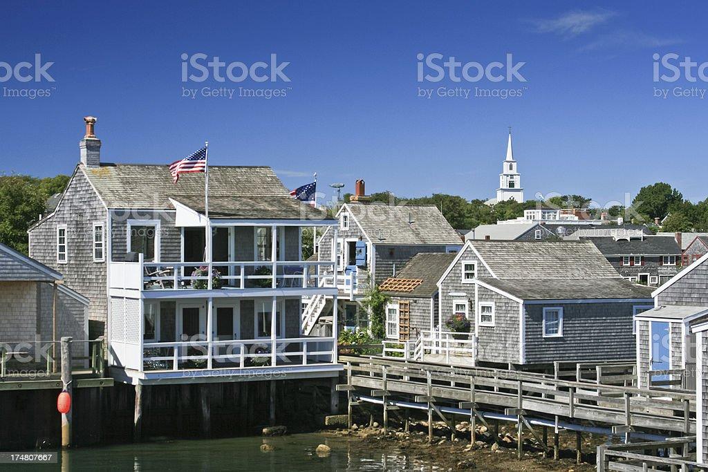 Nantucket, Massachusetts. Veiw from ocean. Clear blue sky. stock photo