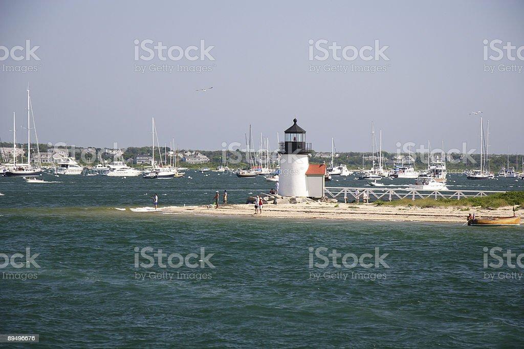 Nantucket summer day at Brant Point lighthouse royaltyfri bildbanksbilder