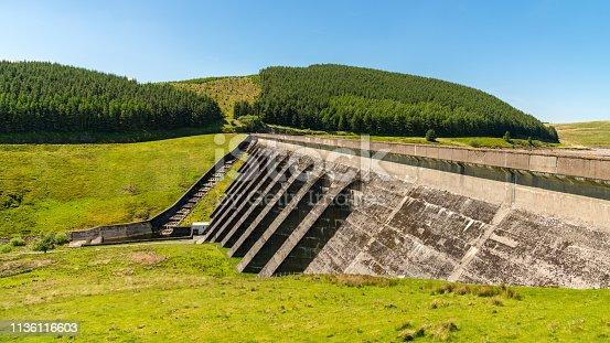 Road over the dam of Nant-y-Moch Reservoir, Ceredigion, Dyfed, Wales, UK