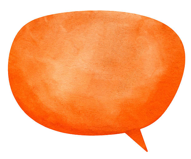 Nanuk Orange Speech Globe Textured watercolour speech bubble  on real watercolour paper. No CS brushes added.More like this in my portfolio! speech bubble stock pictures, royalty-free photos & images