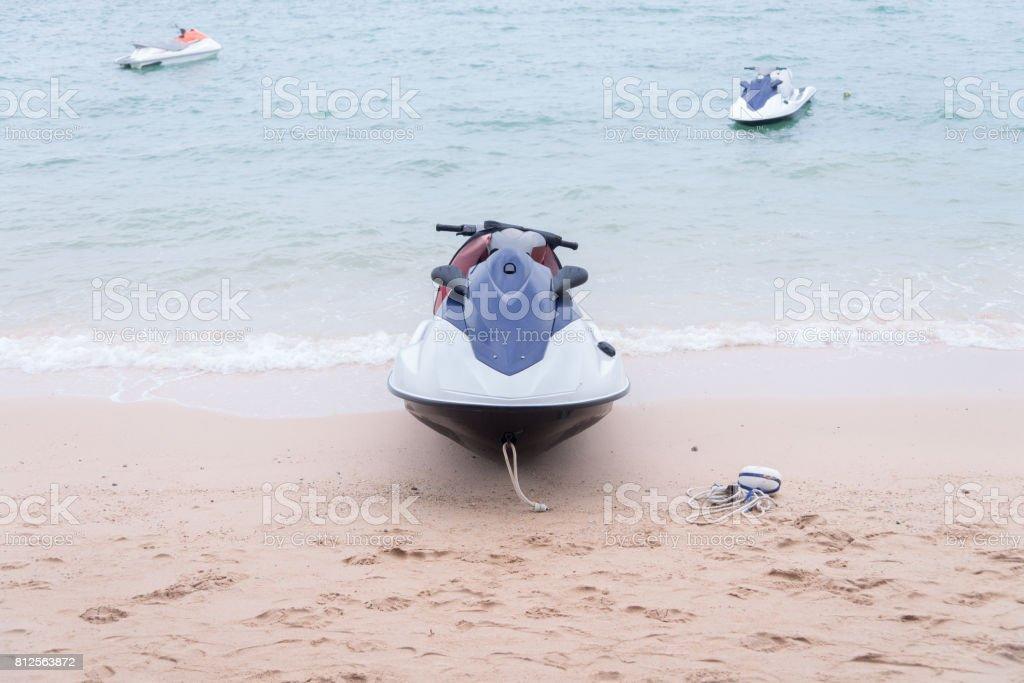 nany blue and white Jet ski floating on blue sea,Tropical Ocean, pattaya city, thailand stock photo