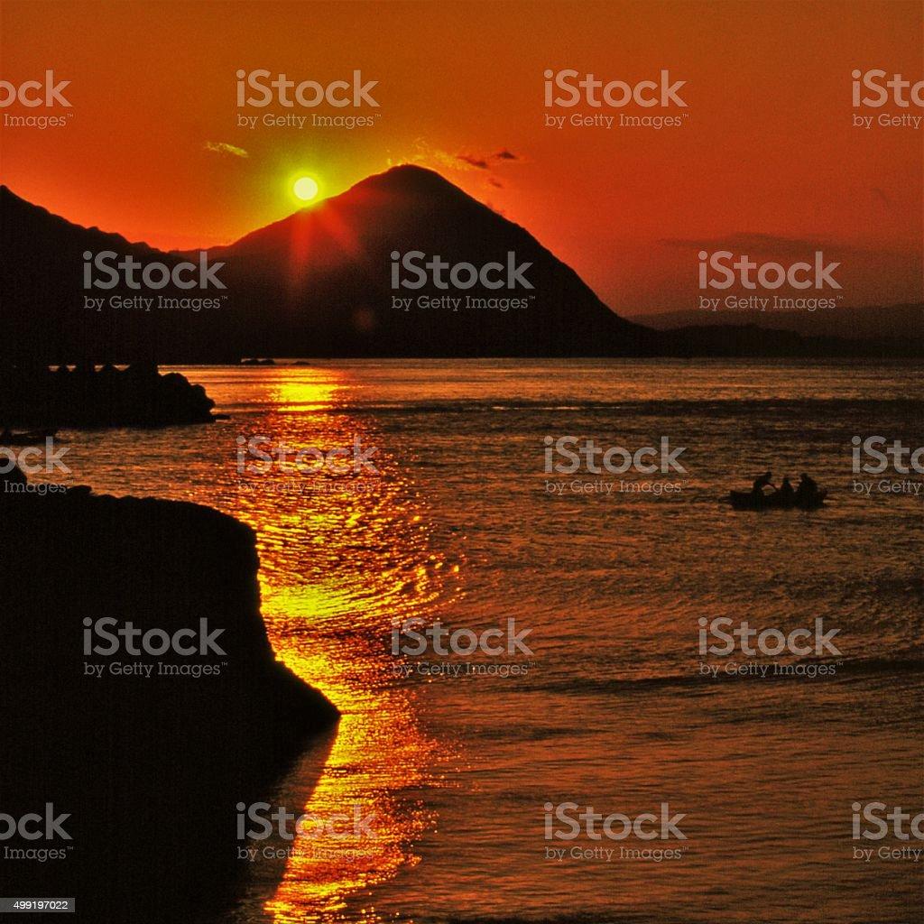 Nanya, Sunset at Seashore stock photo