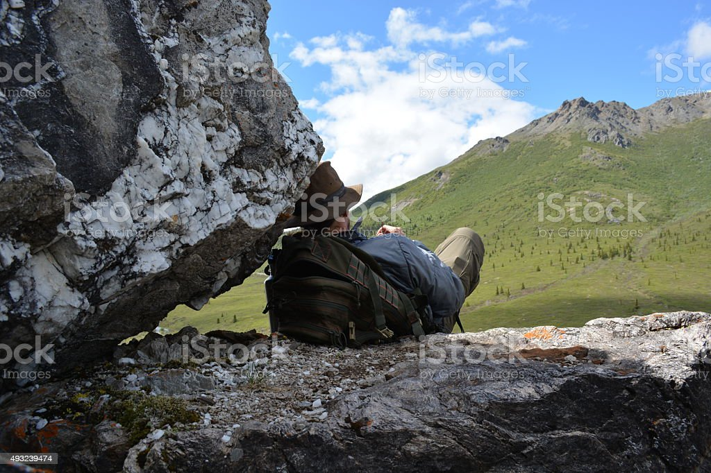 Nap on a Cliff stock photo