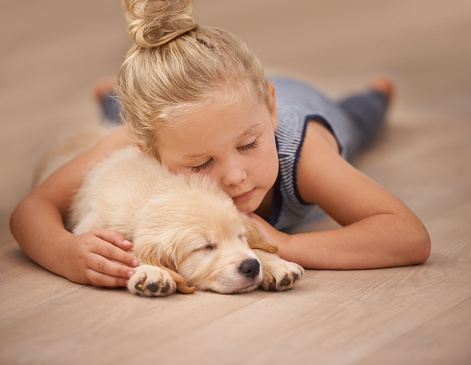 Kids seeking affection and warmth of pets